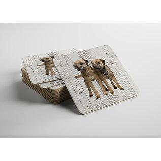 Creatief Art Hond Border Terriër | Houten Onderzetters 6 Stuks