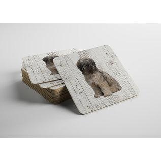 Creatief Art Hond Bobtail | Houten Onderzetters 6 Stuks