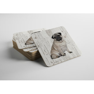 Creatief Art Hond Mopshond | Houten Onderzetters 6 Stuks