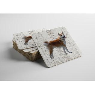 Creatief Art Hond Shiba Inu | Houten Onderzetters 6 Stuks