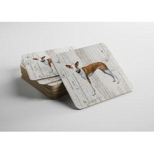 Creatief Art Hond podenco | Houten Onderzetters 6 Stuks