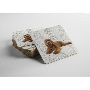 Creatief Art Hond labradodel bruin | Houten Onderzetters 6 Stuks