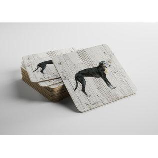 Creatief Art Hond windhond zwart | Houten Onderzetters 6 Stuks