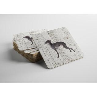 Creatief Art Hond Italiaanse windhond | Houten Onderzetters 6 Stuks