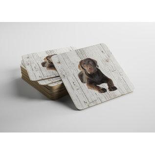 Creatief Art Hond Labrador bruin | Houten Onderzetters 6 Stuks