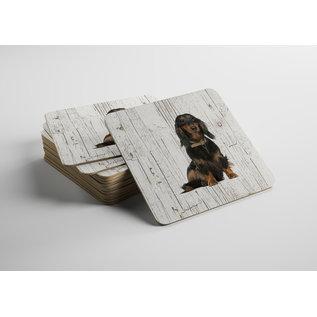 Creatief Art Hond Teckel langharig | Houten Onderzetters 6 Stuks