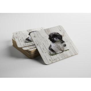 Creatief Art Hond chichu | Houten Onderzetters 6 Stuks