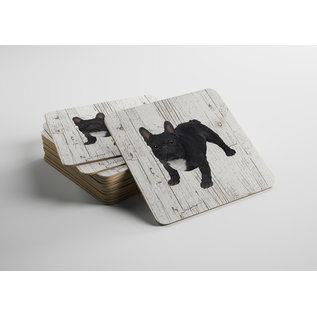Creatief Art Hond Buldog zwart | Houten Onderzetters 6 Stuks