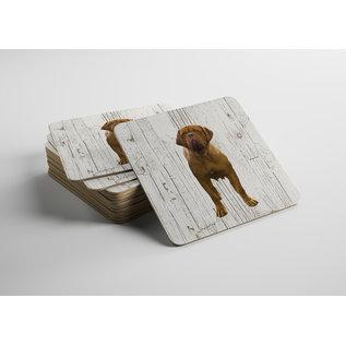 Creatief Art Hond Bordeaux Dog | Houten Onderzetters 6 Stuks