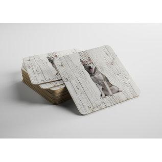 Creatief Art Hond Sibersche Husky | Houten Onderzetters 6 Stuks