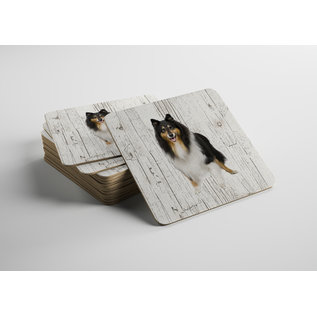 Creatief Art Hond Schotse Herdershond | Houten Onderzetters 6 Stuks
