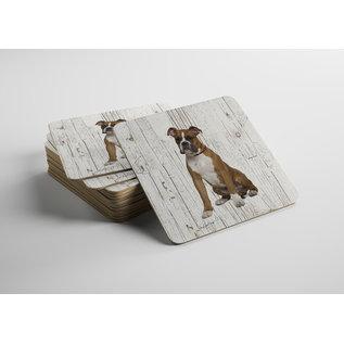 Creatief Art Hond Boxer bruin | Houten Onderzetters 6 Stuks