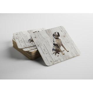 Creatief Art Hond Duitse Dog | Houten Onderzetters 6 Stuks