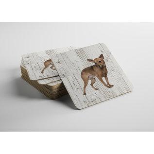 Creatief Art Hond Dwergpinscher | Houten Onderzetters 6 Stuks