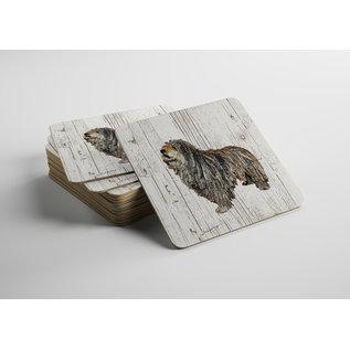 Creatief Art Hond Bergamasco | Houten Onderzetters 6 Stuks