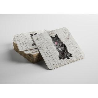Creatief Art Hond Mudi | Houten Onderzetters 6 Stuks