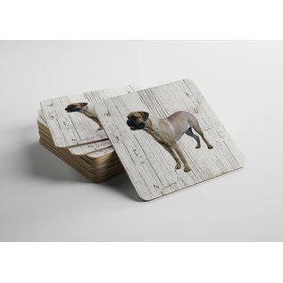 Creatief Art Hond Bulmastiff | Houten Onderzetters 6 Stuks