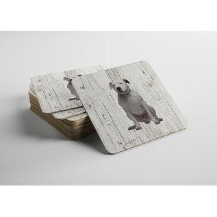 Creatief Art Hond Dogo Argentino | Houten Onderzetters 6 Stuks