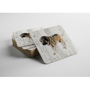 Creatief Art Hond Kaukasische Aucharka | Houten Onderzetters 6 Stuks