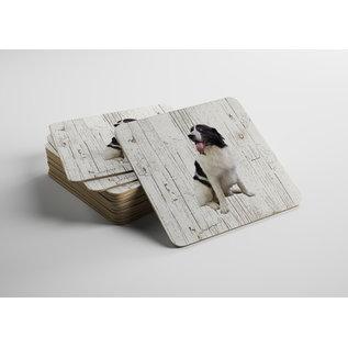Creatief Art Hond Landseer ECT | Houten Onderzetters 6 Stuks
