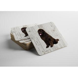 Creatief Art Hond Newfoundlander | Houten Onderzetters 6 Stuks