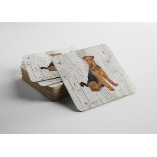 Creatief Art Hond Airedale Terrieér | Houten Onderzetters 6 Stuks