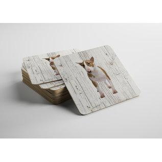 Creatief Art Hond Bull Terriër Miniatuur | Houten Onderzetters 6 Stuks