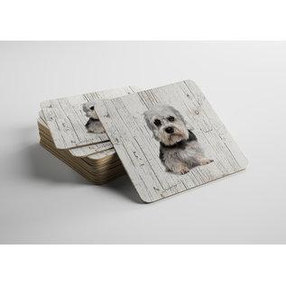 Creatief Art Hond Dendie Dinmond Terriër | Houten Onderzetters 6 Stuks