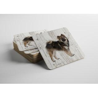 Creatief Art Hond Eurasiër | Houten Onderzetters 6 Stuks