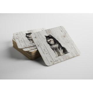 Creatief Art Hond Finse Lappenhond | Houten Onderzetters 6 Stuks