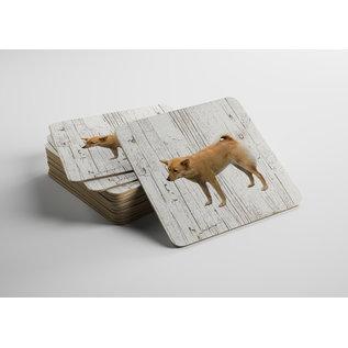 Creatief Art Hond Finse Spits | Houten Onderzetters 6 Stuks