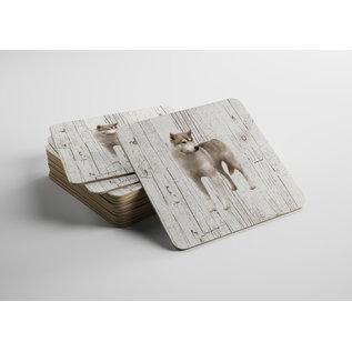 Creatief Art Hond Groenlandhond | Houten Onderzetters 6 Stuks