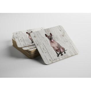 Creatief Art Hond Mexicaanse Naakthond | Houten Onderzetters 6 Stuks