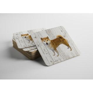 Creatief Art Hond Shiba | Houten Onderzetters 6 Stuks