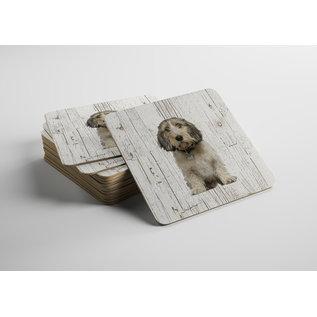 Creatief Art Hond Petit Basset Griffon Vendéen | Houten Onderzetters 6 Stuks