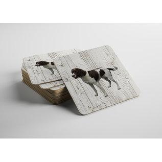 Creatief Art Hond Drentsche Patrijshond | Houten Onderzetters 6 Stuks