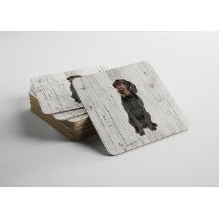 Creatief Art Hond Duitse Staande Hond Draadhaar | Houten Onderzetters 6 Stuks