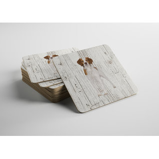 Creatief Art Hond Epagneul Breton | Houten Onderzetters 6 Stuks
