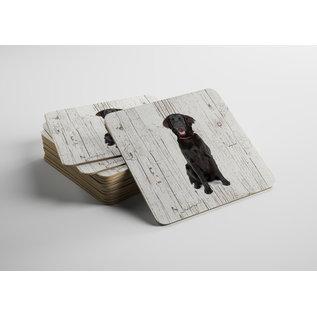 Creatief Art Hond Flatceuted Retriever | Houten Onderzetters 6 Stuks