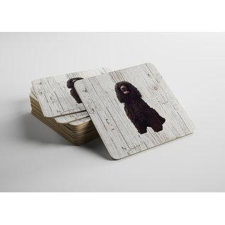 Creatief Art Hond Ierse Water Spaniel | Houten Onderzetters 6 Stuks