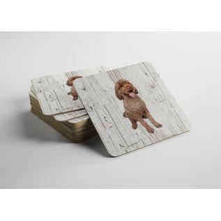 Creatief Art Hond Portugese Waterhond | Houten Onderzetters 6 Stuks