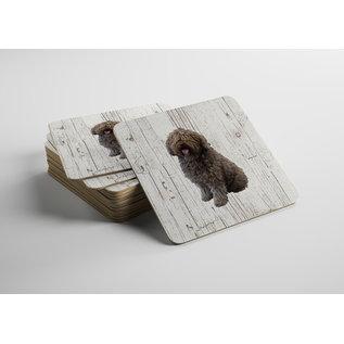 Creatief Art Hond Spaanse Waterhond | Houten Onderzetters 6 Stuks