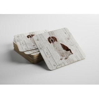 Creatief Art Hond Welsh Springer Spaniel | Houten Onderzetters 6 Stuks