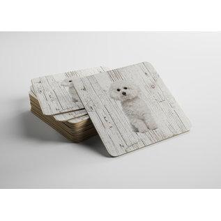 Creatief Art Hond Bichon Frisé | Houten Onderzetters 6 Stuks