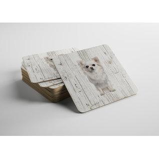 Creatief Art Hond Chihuahua Langhaar Wit | Houten Onderzetters 6 Stuks