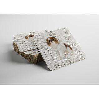 Creatief Art Hond Japanse Spaniel | Houten Onderzetters 6 Stuks