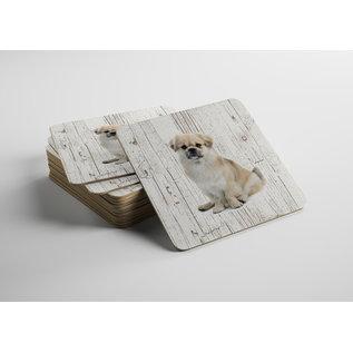 Creatief Art Hond Tibetaanse Spaniel | Houten Onderzetters 6 Stuks