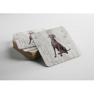Creatief Art Hond Weimaraner | Houten Onderzetters 6 Stuks