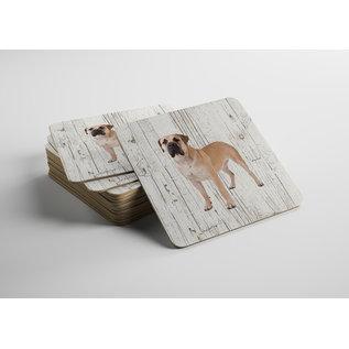 Creatief Art Hond Boerboel | Houten Onderzetters 6 Stuks