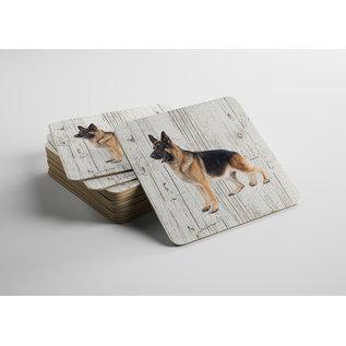 Creatief Art Hond Duitse Herder Langharig | Houten Onderzetters 6 Stuks
